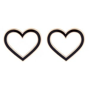 5 for $25 Heart Shaped Black Statement Earrings